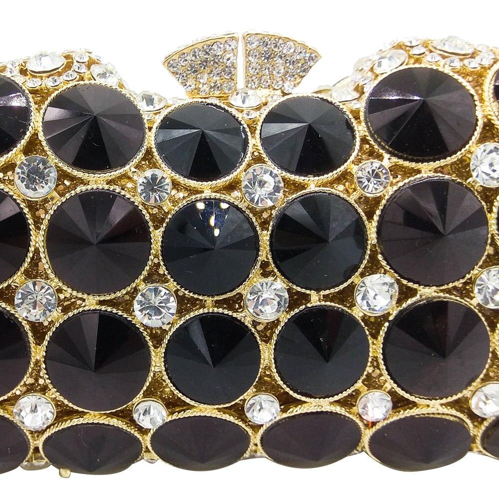 부티크 드 fgg 우아한 블랙 제트 다이아몬드 저녁 클러치 가방 여성 패션 웨딩 파티 핸드백 지갑 신부 크리스탈 클러치-에서탑 핸드백부터 수화물 & 가방 의  그룹 2
