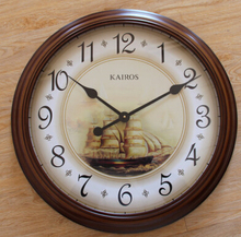 Modern fashion living room European-style high-quality high-grade round brown solid wood wall clock muted free shipping