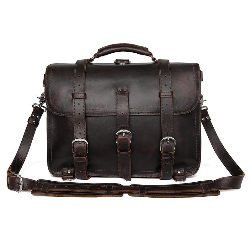 Мужской офисный портфель, толстый прочный, коровья кожа, Юнайтед дизайн, большой, для путешествий, 17 дюймов, для ноутбука, на плечо, через плечо, Tote, сумки, сумки