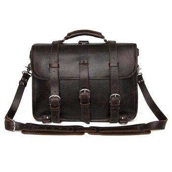 Männer Büro Aktentasche Dicke Haltbare Kuh Leder Vereinigten Design Große Reise 17 Laptop Schulter Crossbody-tasche Handtaschen Taschen