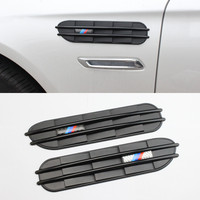 2x Black Decorative Front Fender Side Vent Grills Self Adhesive Air Flow Exterior For All BMW