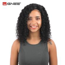 купить!  Wignee Short Curly Human Hair Wigs For Women Natural Black Color Side Lace Part Afro Kinky Curly 150% Human Wigs Drop Shipping Лучший!