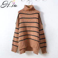 H.SA Women Winter Turtleneck Sweater and Jumpers 2018 Knitted Jumpers Striped Loose Pullovers Coffee Oversized Sweater