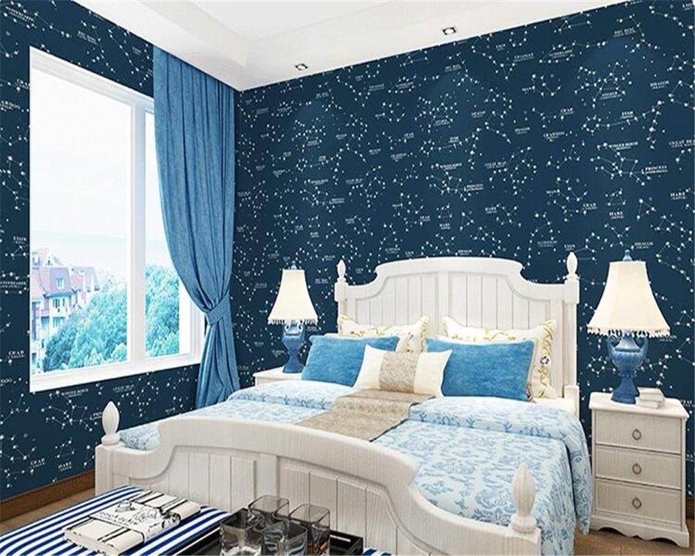 Us 28 83 29 Off Beibehang Mediterranean Style Children S Room Wallpaper Green Dark Blue Stars Boy Bedroom Living Tv Background In