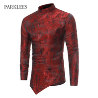 Velvet Paisley Shirt Men Irregular Oblique Design Mens Dress Shirts 2017 Casual Slim Fit Golden Foil
