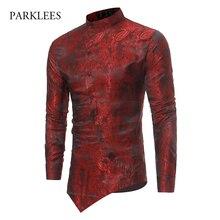 Paisley Floral Shirt Men 2017 Fashion Golden Foil Print Mens Dress Shirts Slim Fit Irregular Slant Button Design Chemise Homme