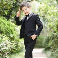 T027 Autumn & Winter Children's Suits Coat+T shirt+Pants+Bow Tie Boys' Suits Piano Performance Thick Bends Blazer Suit