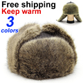 BFDADI 2016 Hat Male Winter Thermal Fur Hat Middle-aged Winter Thickening Mens Fur Hat Leather Large Size 60cm Free Shipping