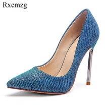 Rxemzg fashion women pumps popular bling glitter pointed toe ladies  designer shoes high heels size 34-43 metal heel shoes blue b0f250d235d3
