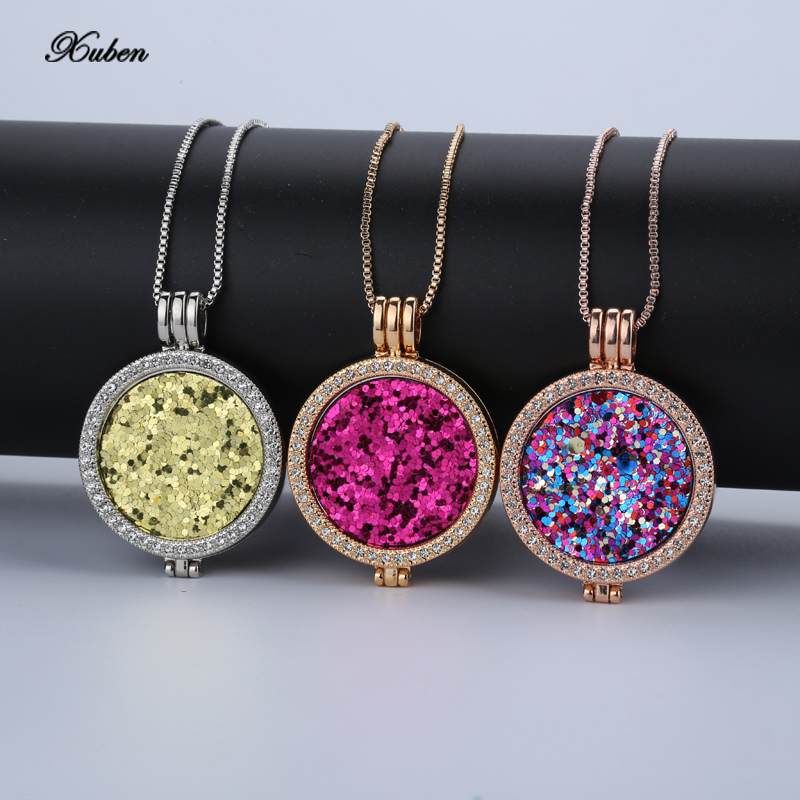 Xuben My Coin Necklace 33mm Coins Disc Fashion For Women Gift Fit 35mm Coin Holder Set With 80cm Chain Mix Style Can Choose