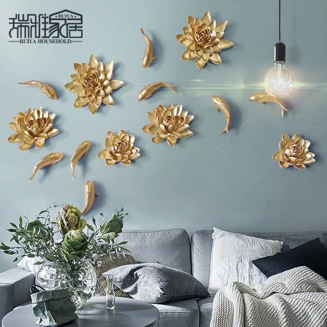 Творческий стене висит цветочным узором декоративные Скульптура Европейский смолы рыбы статус для дома Гостиная украшения Интимные аксессуары