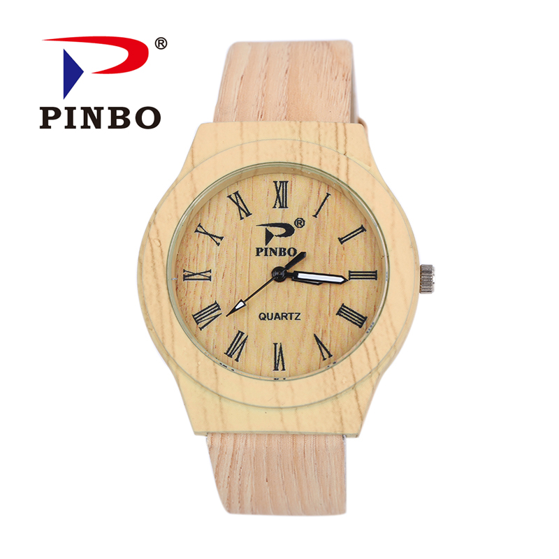 PINBO Simulation Wooden Reloje Quartz Men Watches Casual Wooden Color Leather Strap Watch Wood Male Wristwatch Relogio Masculino natural bamboo watch men casual watches male analog quartz soft genuine leather strap antique wood wristwatch gift reloje hombre