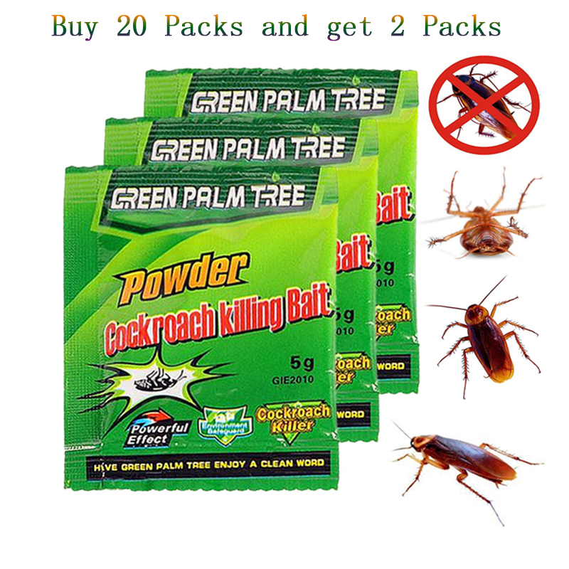 20Packs Green Leaf Powder Effective Killing Cockroach Bait Insecticide Repellent Cockroaches Killer Repeller Trap Pest Control