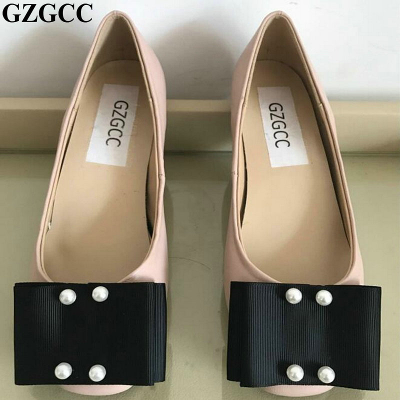 GZGCC New Arrival Leather Flat Women Ballet Flats Shoes Women Shoes nude Black For Lady