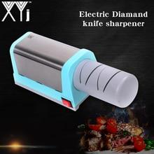 XYj 다기능 전기 다이아몬드 및 세라믹 주방 나이프 숫돌 2 단계 그라인더 세라믹 EU 플러그 나이프 숫돌을 선명하게