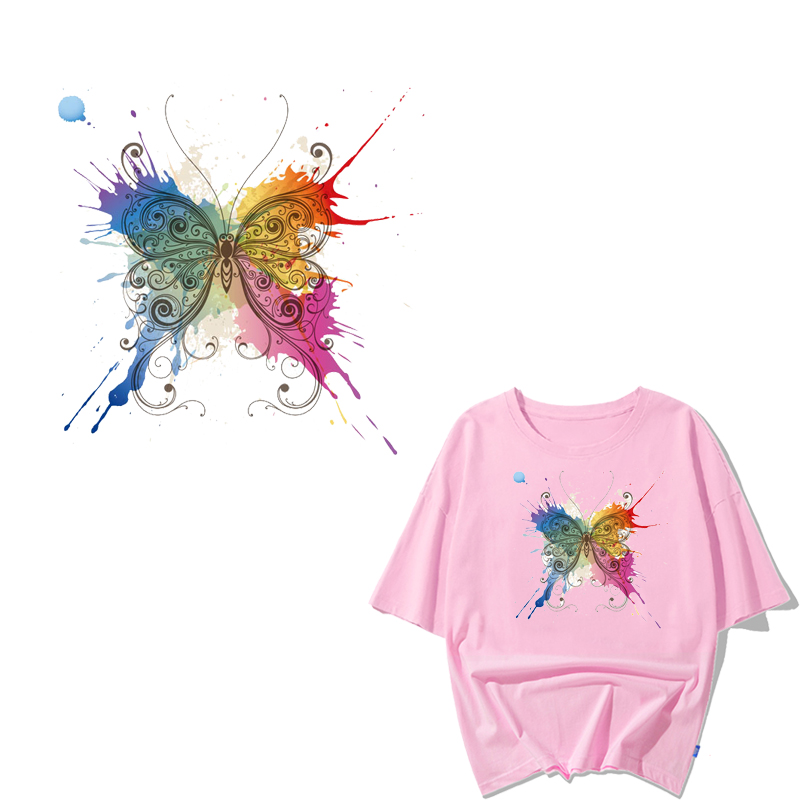 Watercolor Butterfly Patch Badges Iron on Transfer Washable Vinyl Stickers on Clothes DIY T shirt Dresses Applique Thermal Press in Patches from Home Garden