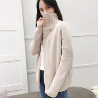 2018 Womens Autumn Cardigan Long Sleeve With Zipper Turtle Neck Knitted Sweater Winter Knitwear Ladies Cardigans Casual Black