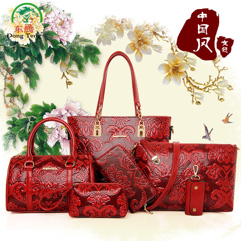 Chinese Styles Women Handbag 6 Pcs/Set Pu Leather Embossing Composite Bag Messenger Bag Fashion Shoulder Bag Purse Wallet DT4361 9802 sexy lace stomachers red free size