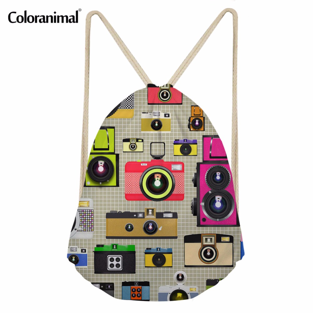 Coloranimal Men Gym Sack Fashion 3D Camera Print Male Drawstring Bag Women Casual String Shoulder Backpack Travel Beach Softback