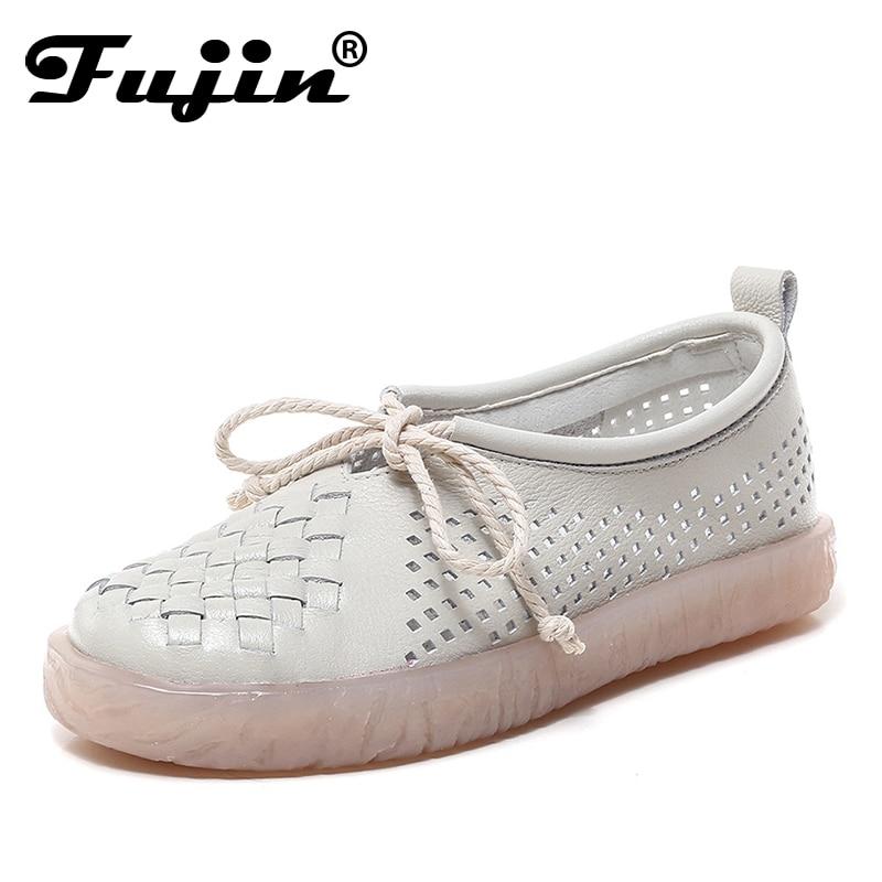 Fujin chaussures plates femmes respirant pêcheur femme chaussure 2019 printemps été femmes chaussures découpées évider chaussures décontractées