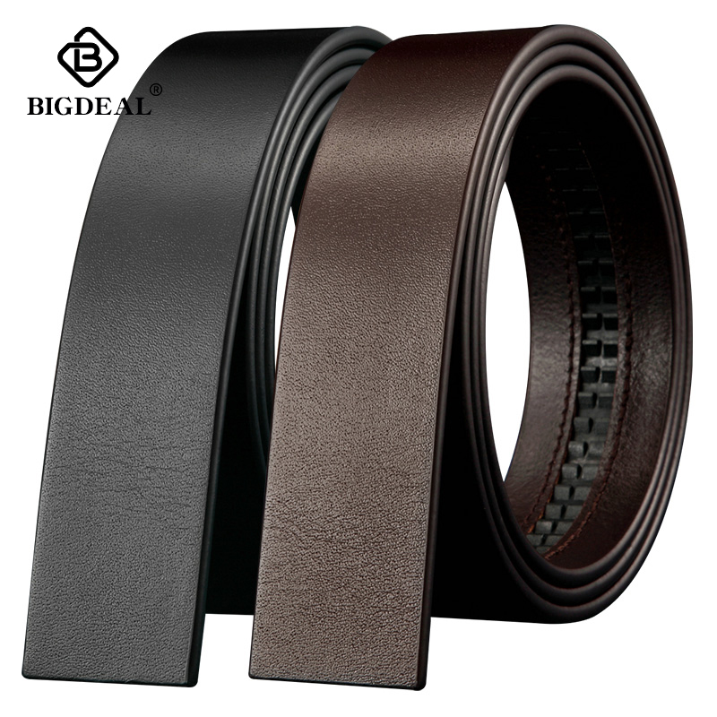BIGDEAL No Buckle 3.5cm Wide Real male Genuine Leather Belt Without Automatic Buckle Strap Designer Belts leather belt menMens Belts   -