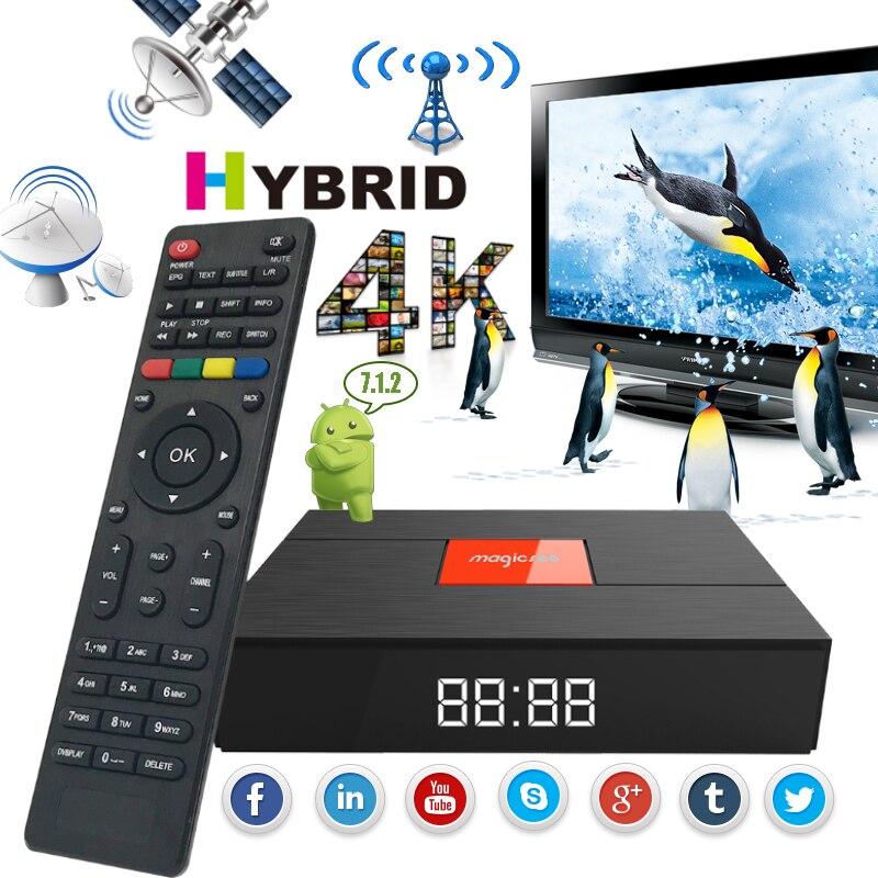 Magica C400 Plus DVB-S2 DVB-T2 Decodificador de TELEVISÃO Por Satélite S912 Octa-core Caixa Smart TV Amlogic 32 3g g android 7.1 4 k Media Player