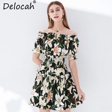 Delocah Summer Women Dress Runway Fashion Designer Lantern Sleeve Backless Floral Print Elastic Waist Elegant Casual Mini