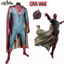 Ling Bultez High Quality Vision Costume Civil War Vision Cosplay Costume Avengers Vision Suit With Cape Hero Cosplay Costume