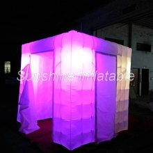 Foldable commercial 2doors inflatable photo booth with colorful LED photo booth props inflatable cube tent for wedding