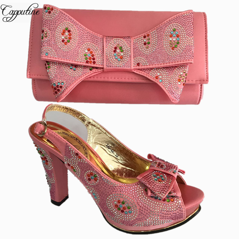Capputine Fashion African Rhinestone Pink Shoes And Bag Set For Party Italian High Heels Shoe With Matching Bag For Party BL675C italian shoes with matching bag new design african pumps shoe heels fashion shoes and bag set to matching for party gf25