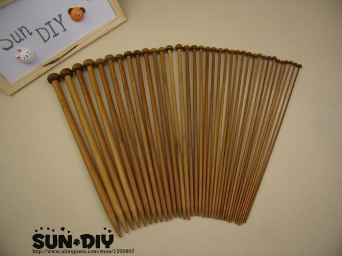 Бесплатная доставка один-указал Бамбуковые Спицы 25,35 см 18 пар/размеры 2.0-10.0 мм для DIY ремесла вязание рукоделие