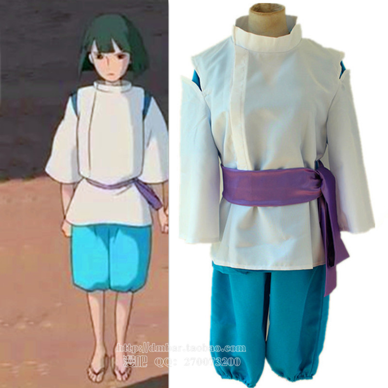 Free shipping Spirited Away Sen to Chihiro no Kamikakushi White Dragon Haku Nigihayami Kohakunushi Uniform Cosplay Costume