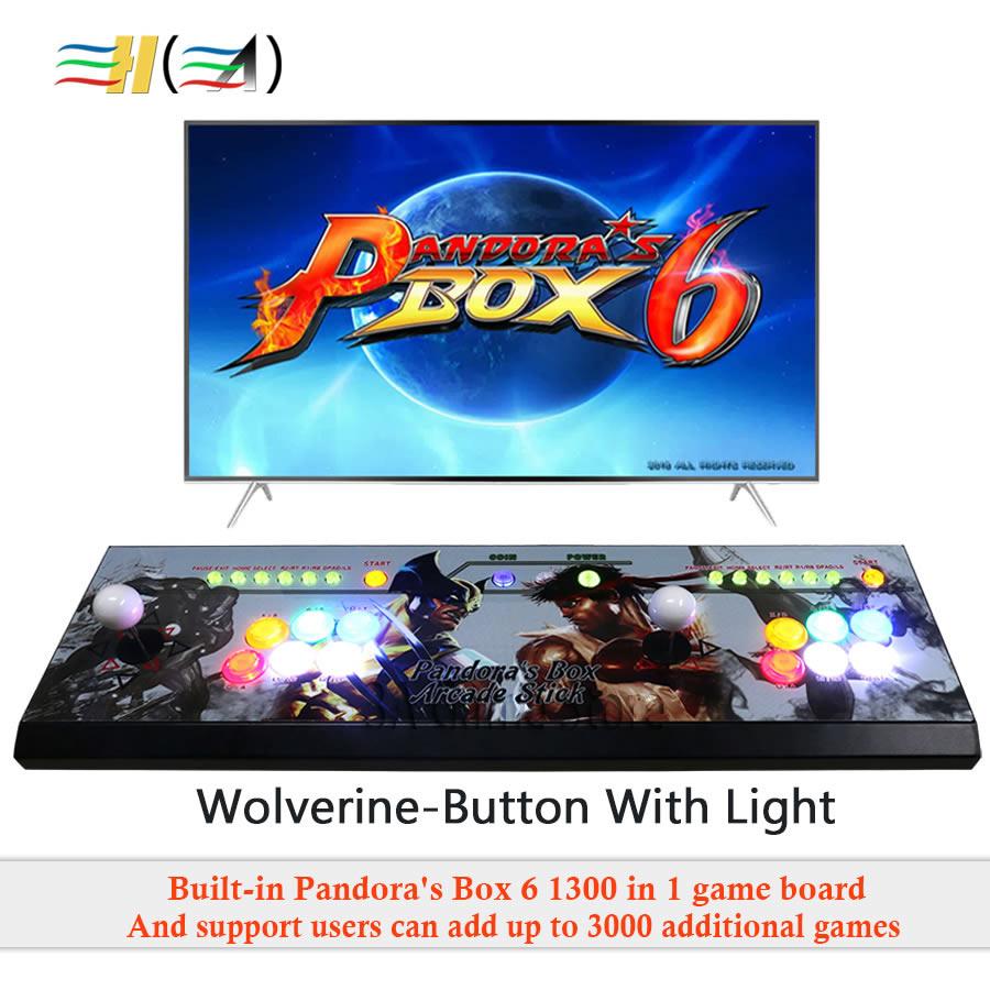 Boîte de pandore 6 1300 dans 1 jeu console d'arcade usb joystick arcade boutons avec la lumière 2 les joueurs contrôlent machine Pandora box 6 HD