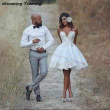 2019 Beach Summer Short Wedding Dress Lace Applique Informal Wedding Bridal  Gowns Vestido De Novia Bride Reception Dress db73a606c2d8