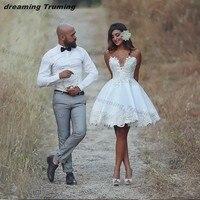 2019 Beach Summer Short Wedding Dress Lace Applique Informal Wedding Bridal Gowns Vestido De Novia Bride Reception Dress