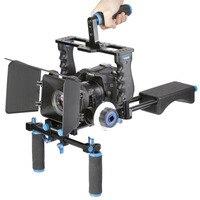 Neewer Алюминий кино комплект Системы Rig для Canon/Nikon/Pentax/sony/DSLR камер :( 1) видео клетка + (1) Топ ручка + (2) 15 мм стержень