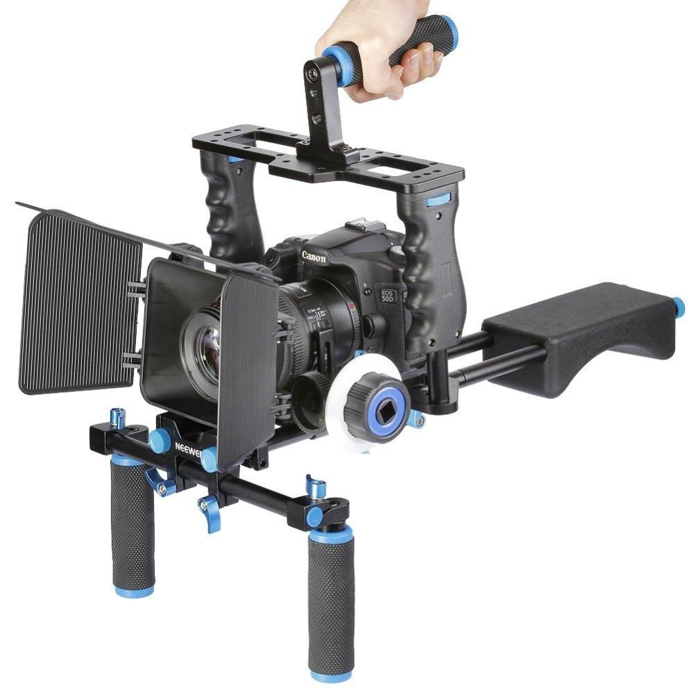 bilder für Neewer aluminium film film kit system rig für canon/nikon/pentax/sony/dslr kameras :( 1) video käfig + (1) top griff grip + (2) 15mm stange