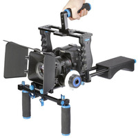 Neewer Aluminum Film Movie Kit System Rig for Canon/Nikon/Pentax/Sony/DSLR Cameras:(1)Video Cage+(1)Top Handle Grip+(2)15mm Rod