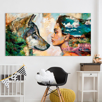 QKART Wall Art Canvas Animal Oil Painting Wolf And Girl Wall Pictures For Living Room No