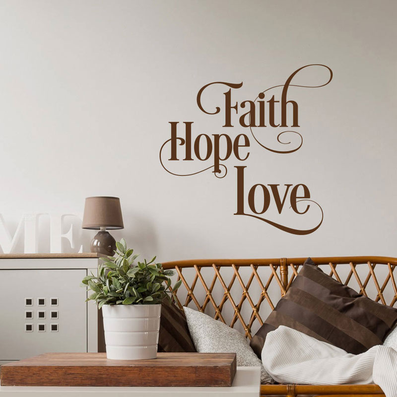 Faith Hope Love Wall Decal Inspirational Wall Decal Quote ...