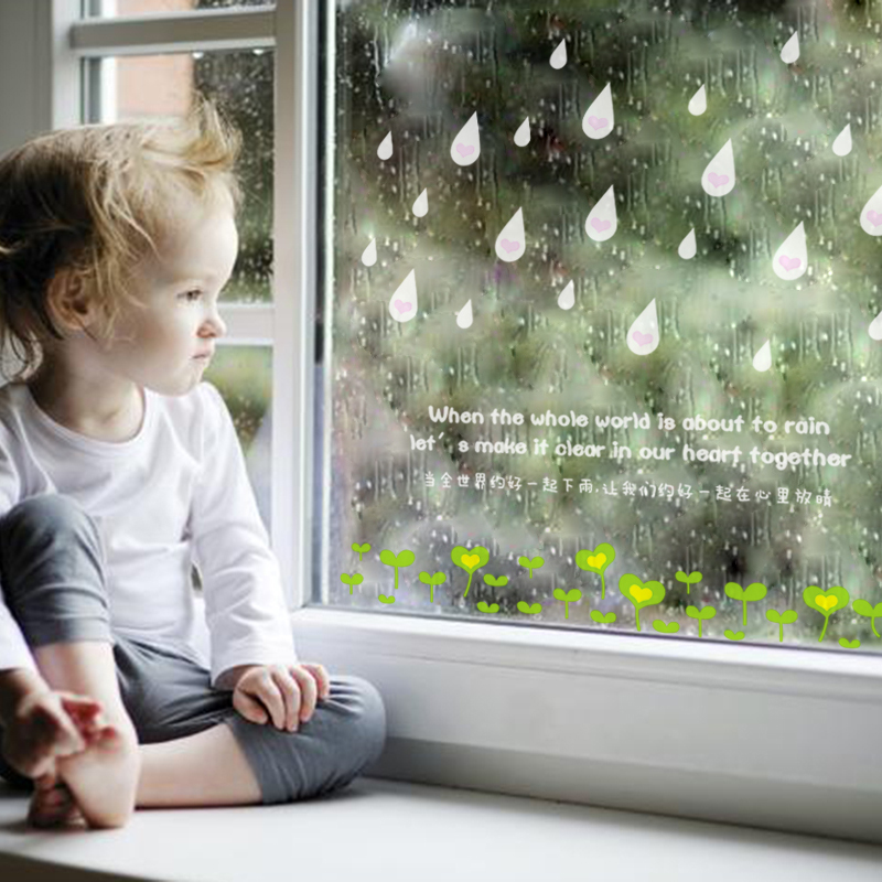 High Quality Creative Raindrops Keep Falling Window Stickers Removable Wall Stickers for Kids Room Shop Decoration