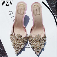 New Brand 2018 Summer Shoes Women Sweet Elegant Pearl Beaded High heeled Shoes Thin Heels Pointed Toe Women Sandals c37