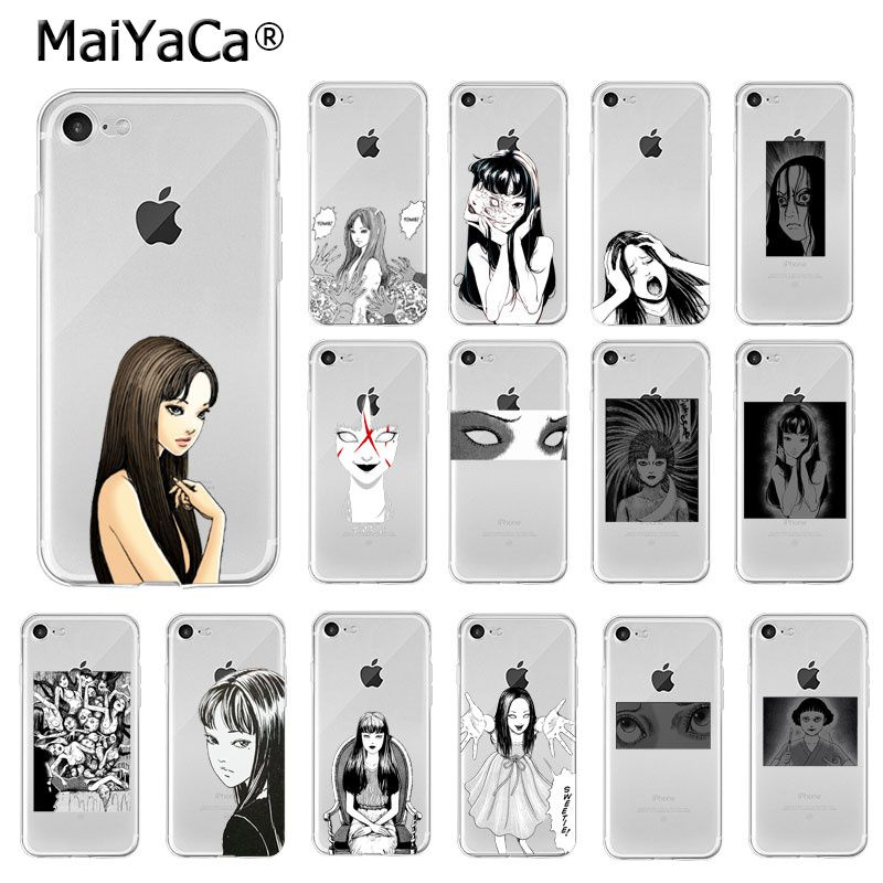 Maiyaca japonês horror comic tomie junji itou tpu capa de telefone macio para o iphone 6 s 6plus 7plus 8 mais x xs max 5 5S xr