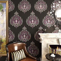 Luxury Europe Damascus Photo Wall Murals Modern Living Room Dining Room Tv Backdrop Gold Foil 3D Wallpaper In Rolls Black White
