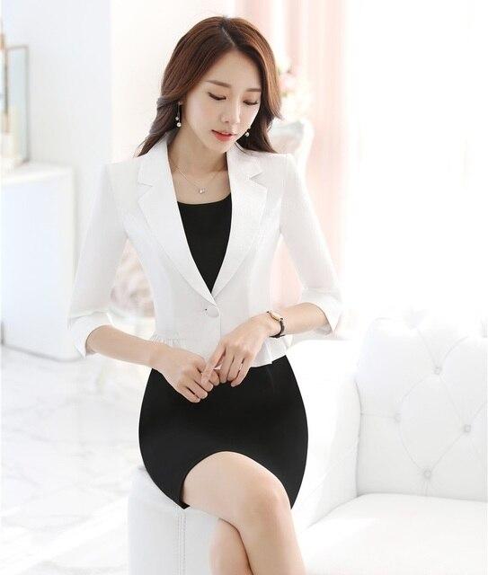 Señoras formales Trajes de vestir para las mujeres de negocios Trajes  blanco blazer y chaqueta Sets d0eadc44d005