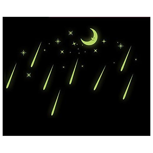 Практичный Спальня красивые люминесцентные Светящиеся в темноте Наклейки на стену Moon метеорный поток