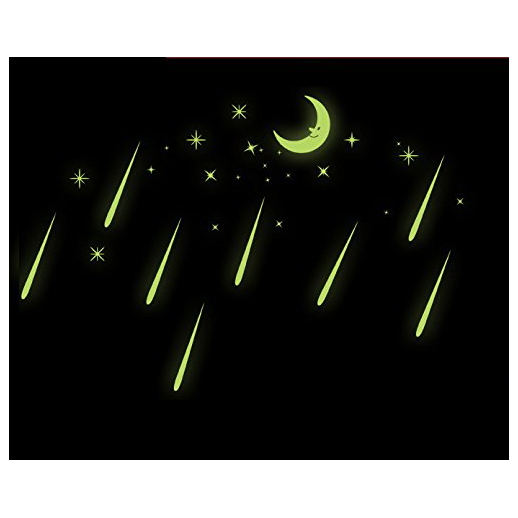 Practical Bedroom Beautiful Fluorescent Glow In The Dark Wall Stickers Moon meteor shower
