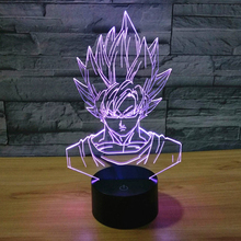 Dragon Ball Z Super Saiyan God Goku Action Figures font b 3D b font Table Lamp