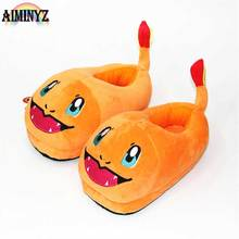 Pokemon Female Floor Slippers Animal Fire Dragon Chausson Womens Indoor Female Shoes Winter Slippers Warm Soft Cute Cartoon