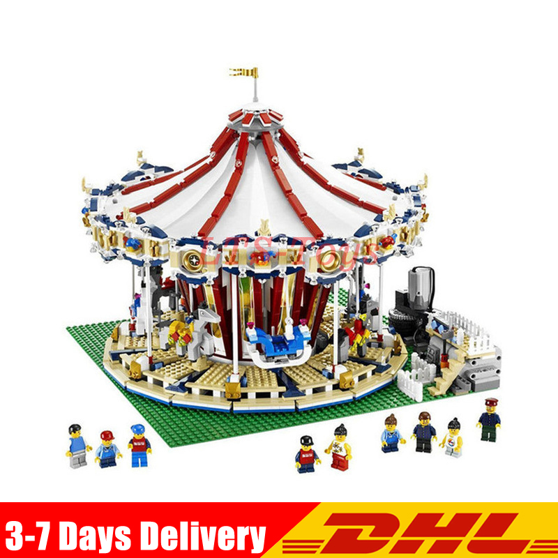 With Motor Clone Legoed 10196 LEPIN 15013 3263Pcs City Street Grand Carousel Model Building Kits Set Blocks Brick Toy lepin 15013 city street carousel model building kits assembling blocks toy legoing 10196 educational merry go round gifts